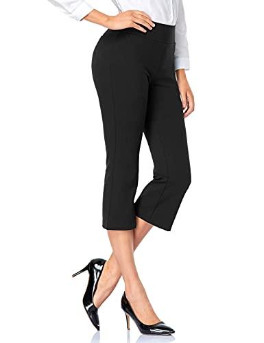 Tapata Mujer 52cm Pantalones Bootcut Capri Elásticos de Cintura Alta Pantalones con Puño para Oficina Negocios Casual 52cm, Negro, M
