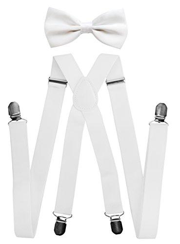 axy® Herren Hosenträger mit Fliege - 4 Starken Clips X-Form (Weiss (Hosenträger Breit 2,5cm))