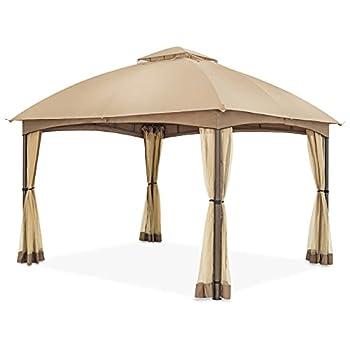 COOL Spot 10 x 12 ft Patio Dome Gazebo w/Mosquito Netting Two-Tier Vented Top for Backyard Garden Lawn  Beige