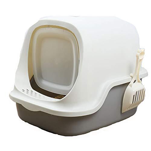 Caja De Arena para Gatos Baño para Gatos Recogedor De Arena para Gatos con Cúpula De Fácil De Limpiar Encapuchado Bote De Basura Baño De Gatito Filtrar con Mango A Prueba,Gris