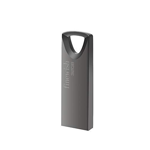 USB Stick 32GB, Slim Speicherstick 32GB Wasserdicht USB Flash Drive 32 GB mit Schlüsselanhänger für Schule Büro Auto PC Laptop (Grau)