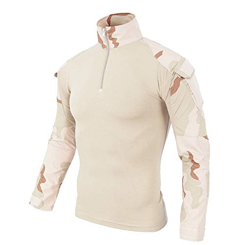 Gkojhj Sudadera para hombre con media cremallera táctica, camuflaje, manga larga, buen aspecto y fuerte entrenamiento muscular, básico, color sólido, camiseta, amarillo, L