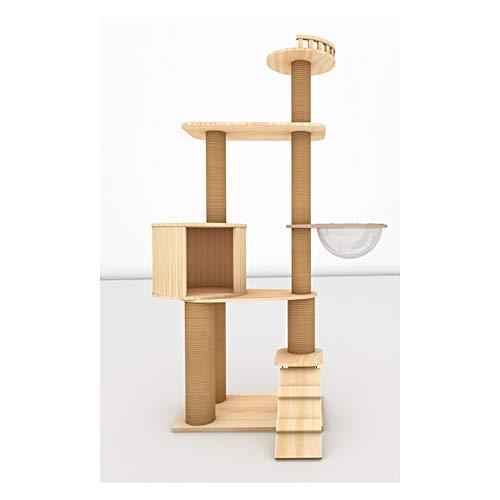 LSF Kratzbäume katzenbaum groB Kratzbaum Cat Turm Cat Klettergerüst Massivholz Große Rattan Nest Cat Tree House Integrierte Katze Springen Plattform Raumkapsel (Size : C)
