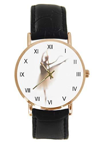 Reloj de pulsera de bailarina de ballet, clásico, unisex, analógico, de cuarzo, con caja de acero inoxidable, correa de cuero