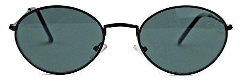 ovale Retro Sonnenbrille 90er Jahre Blogger Fashion Brille Damen Herren oval QV20 (Schwarz)