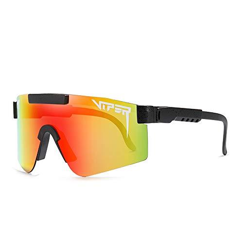 Tletiy Pit-Viper - Gafas de Sol, Prueba Viento Doble Ancho polarizadas Espejo Tr90 para Hombres y Mujeres Gafas de protección UV400 Gafas de Sol polarizadas para Deportes Pesca Golf béisbol