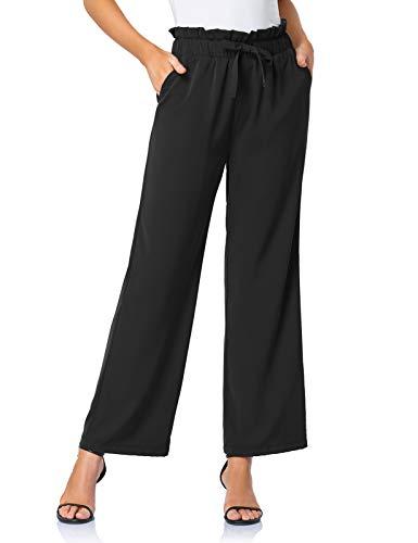 FIRST WAY Women's Paper Bag Waist Pants with Pockets Elastic Waist Wide Leg Self-tie Belted Pants Black XXL