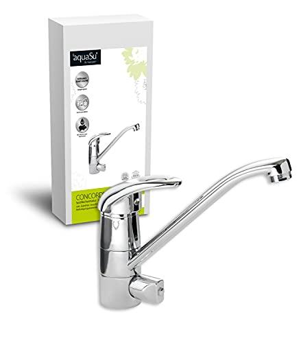 'aquaSu® 77155 9 Einhandmischer Concordia für Spüle Geräteanschluss | Chrom | Wasserhahn | Spüle