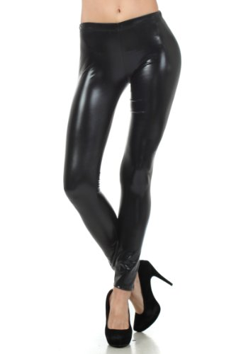 Sakkas Liquid111 Footless Flüssigkeit Wet Look Shiny Metallic Stretch Leggings - Schwarz/X - Large