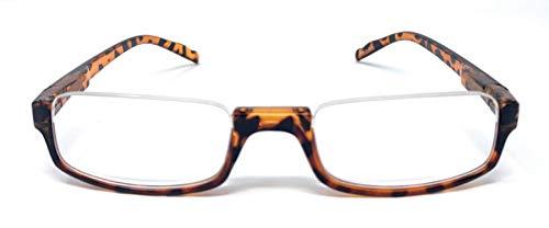 The Parker Rectangle Half Frame Reading Glasses, Unisex Semi Rimless Readers + 1.50 Tortoise