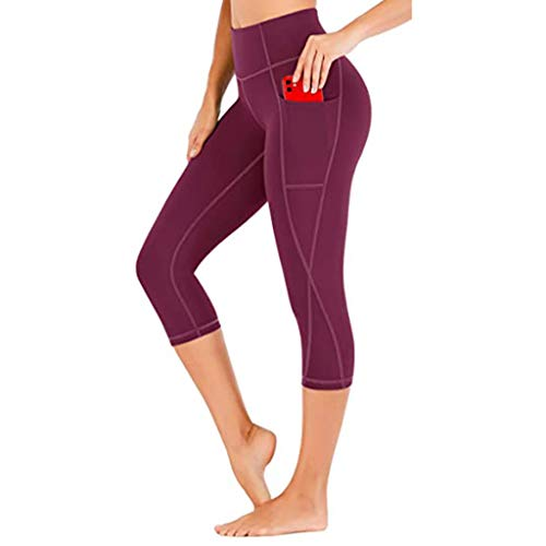 ReooLy Women's Solid Pocket Workout Leggings Plus Size Butt Lifting Scrunch Yoga Pants Fitness Sports Stretch Running Tight(Hot Pink,XX-Large)