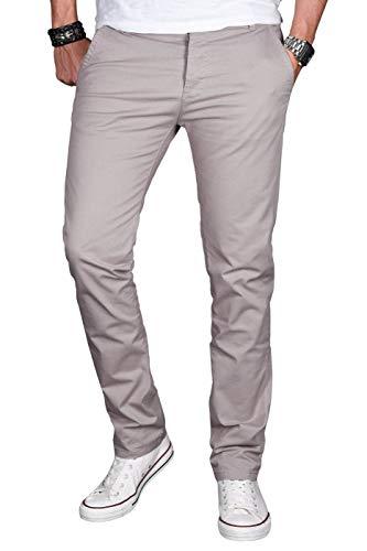 A. Salvarini Herren Designer Chino Stretch Stoff Hose Chinohose Regular Slim mit Elasthananteil AS024 [AS-024-Hellgrau-W31 L30]
