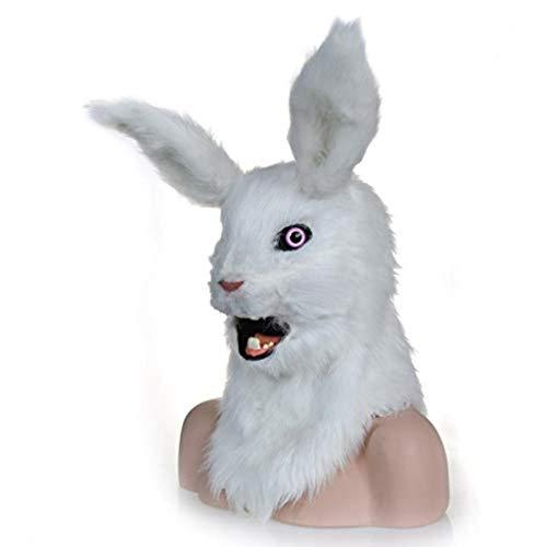 KEMANDUO Kaninchen-Maske Latex Maskerade Props Weihnachten Cosplay Kostüm-Schablonen-Halloween-Party-kühlen Maske (Farbe: weiß),Weiß