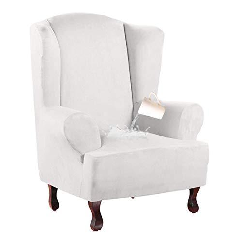 Nati Sesselhusse Wasserdicht Sesselbezug, Stretchhusse für Ohrensessel, Elastisch Husse für Fernsehsessel, Weicher Sesselüberwürfe Sesselschoner Sofabezug Weiß