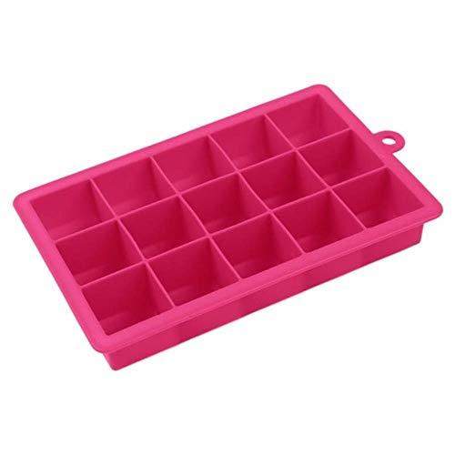CTOBB 15 Silicone de Forme carrée Grids Forme Ice Cube Mould Plateau de Fruits Popsicle sorbetière pour vin Cuisine Bar Accessoires Potable, Red Rose