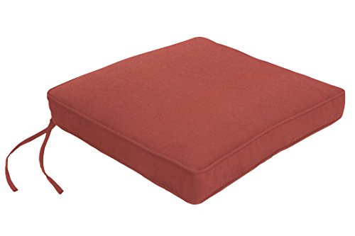 EDDIE BAUER CHAIR PAD DOUBLE PIPED 17X17X2.5, Canvas Henna