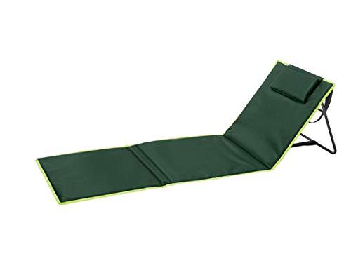 Crivit Campingmatte Campingliege Liege Gartenliege Strandliege Strandmatte mit Rückenlehne Aufbewahrungstasche stufenlos verstellbar (Grün)