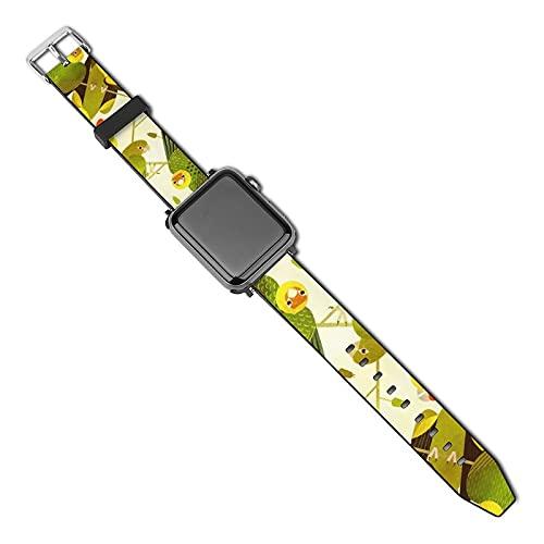 Correa de repuesto para reloj Apple Watch de 38 mm, 40 mm, correa de repuesto para iWatch Series 5/4/3/2/1, Carolina Parakeet