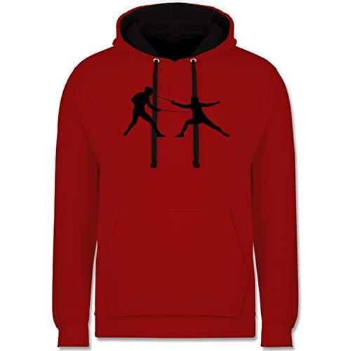 Shirtracer Kampfsport - Fechten - S - Rot/Schwarz - fechten Geschenk - JH003 - Hoodie zweifarbig und Kapuzenpullover für Herren und Damen