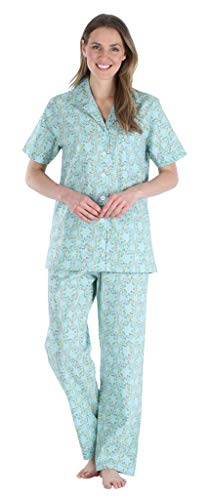 Sleepyheads Women's Sleepwear Poplin Cotton Short Sleeve Button Up Top Pajama Set Bird Trellis Blue (SHCP1624-4015-MED)