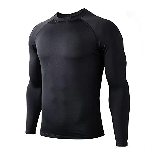 HUGE SPORTS Camiseta térmica para hombre, de manga larga, con mecha humedad, para esquí, correr, ciclismo,, Negro , S