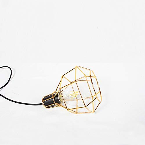 OMKMNOE Tischlampe, Flammige Vintage Tischleuchte Im Retro Look Nachttischlampe Stahl Schwarz Fassung,Gold