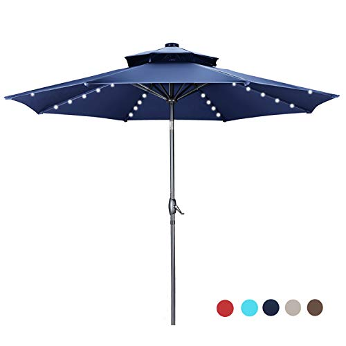 GDY 2 Tiers Vented 10 FT Solar 40 LED Lighted Patio Umbrella, Outdoor Waterproof Table Umbrellas with 8 Sturdy Ribs (Navy Blue)