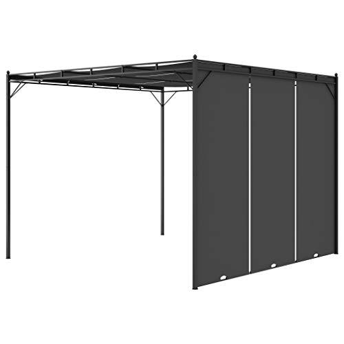pedkit Cenador de Jardín y Toldo Gazebo Cenador de jardín con Cortina Lateral Gris Antracita 3x3x2,25 m