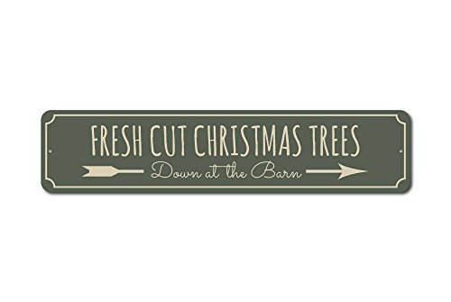 Fresh Cut Weihnachtsbaum Zeichen, Weihnachten Blechschild, Fresh Cut Bäume, Baum Farm Decor, Baum Farm Schild, Baum Lover Geschenk, Metall Decor, Qualität Aluminium 4x 18Metall Schild.