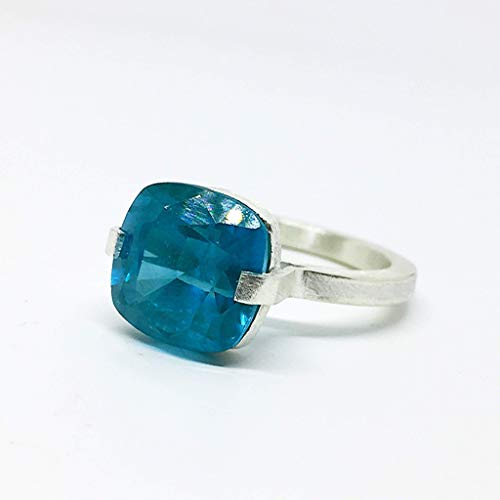 Impresionante anillo para hombre (o no!) con magnífica Grandidierita con CERTIFICADO (incluido) de medidas 11,67 mm x 11,69 mm x 8,17 mm y 9.6 quilates.