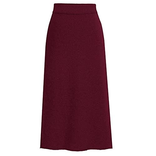 N\P Otoño Invierno Knit Lápiz Falda Mujeres Más Tamaño Faldas De Cintura Alta