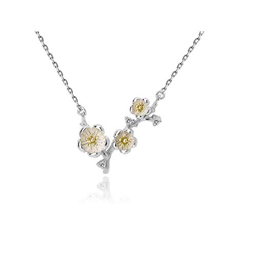 DQH Fqdqh Collar, Collar del diseño de nicho, Helada Plata del Estilo 925 de la Personalidad clavícula Cadena Sencilla Mori Temperamento, Colgante Rama de la Flor (Color : Flowers)