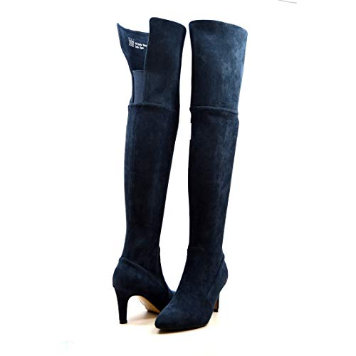 SoleMani Women's Stella Narrow Calf Over the Knee Navy Suede Boots 7