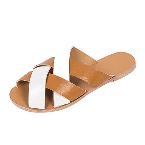 VJGOAL dames sandalen vrouwen zomer elegante platte schoenen kruis kleur afstemming pantoffels Rome strandschoenen