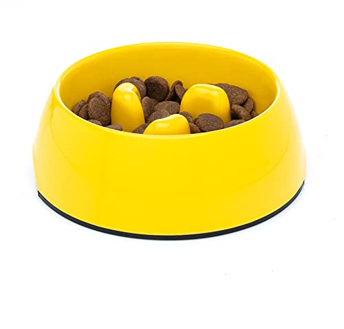 DDOXX Fressnapf Antischlingnapf, rutschfest   viele Farben & Größen   für kleine & große Hunde   Futter-Napf Katze   Hunde-Napf Hund   Katzen-Napf   Melamin-Napf   Gelb, 140 ml