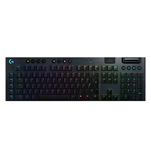 Logitech G915 LIGHTSPEED kabellose mechanische Gaming-Tastatur, Linear GL-Tasten-Switch mit flachem Profil, LIGHTSYNC RGB, Ultraschlankes Design, 30+ Stunden Akkulaufzeit, Deutsches QWERTZ-Layout