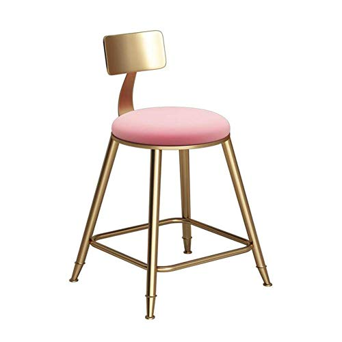 WYL Cojín de Tela metálica de Oro Materiales Resto heces Asiento cómodo Partidos del diseño Moderno de Gran Comodidad del paño + Hierro (Color : Pink, Size : 45cm)