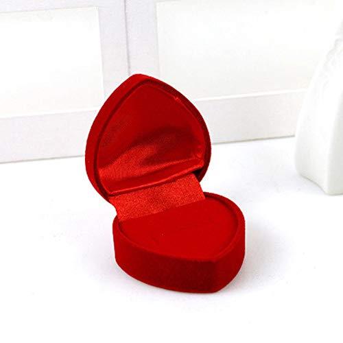 tggh Caja de anillo con forma de corazón de rosa y romántica caja de anillo de boda, para pendientes, collares, joyas, caja de regalo (color : caja de corazón roja)