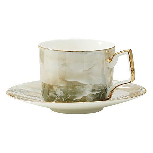 SXXYTCWL Taza de café Hueso China Taza de café Café de café pequeño Copa y platillo Conjunto Oficina Té Té Taza de preparación de café instantáneo para el Regalo del día de la Madre (Verde)