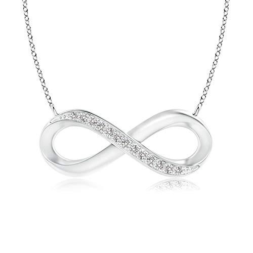 Angara Mujer 9K oro blanco redonda IJ Diamond