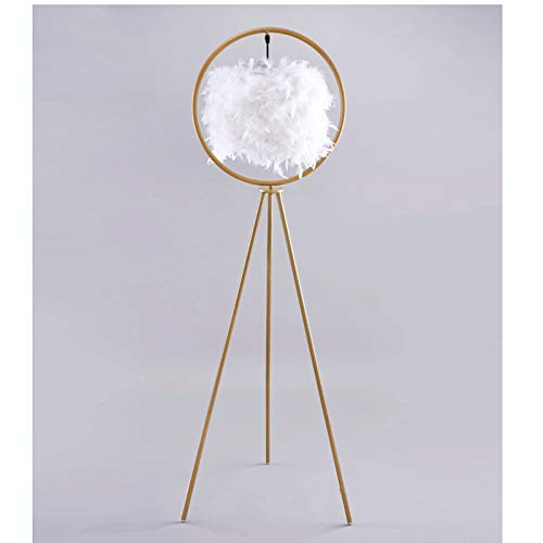 Lámpara de Pie Lámparas novedosas, lámpara de pie Pluma de diseño nórdico sala de estar dormitorio cálido lado de cama vertical lámpara mesa decoración creativa dorada 12w Lámpara de Pie Salon