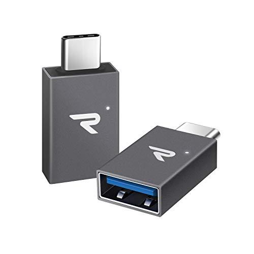 RAMPOW Adaptador USB C a USB 3.1 OTG USB C- [2 Unidade] con LED Aluminio Adaptador USB C para Nuevo MacBook,Huawei Mate 20/30/40,Samsung Galaxy S8/9,ChromeBook Pixel y Dispositivos con USB C - Gris