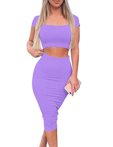 Kaximil Women's Sexy Bodycon Midi Club Dresses Basic Casual 2 Piece Outfits Crop Top Skirt Set,Small,Purple