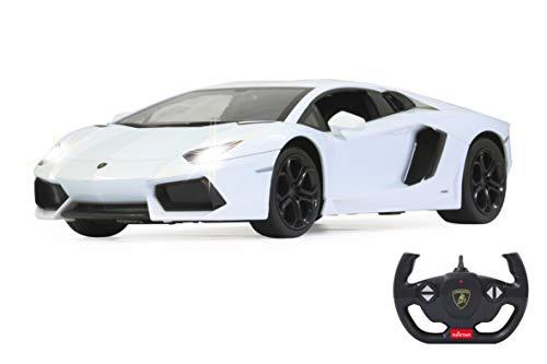 JAMARA 404316 Auto Lamborghini Aventador 1:14 2,4GHz-offiziell lizenziert, bis 1 Std. Fahrzeit bei 11 Km/h, LED, Perfekt nachgebildete Details, detaillierter Innenraum,hochwertige Verarbeitung, Weiss