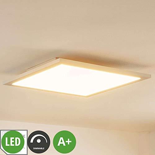 Lampenwelt LED paneel 'Enja' uit aluminium o.a. voor werkkamer/kantoor, inclusief lichtbron - paneel, led panel, plafondlamp