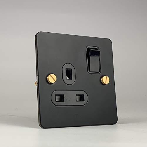Ploutne 4 Gang 4 Way Light Switch y Color Negro Acero inoxidable 86 Tipo Interruptor retro Cambio de mejora de la casa Interruptor de módromo de viento industrial Interruptor del panel negro del panel