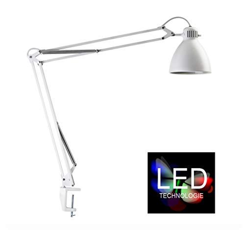 Luxo L-1 LED-Schreibtischleuchte in Weiß, inklusive Tischklemme - robuste Arbeitsplatzleuchte aus Stahl und Aluminium mit moderner LED-Technik, Pixar Leuchte, Arbeitsplatzbeleuchtung