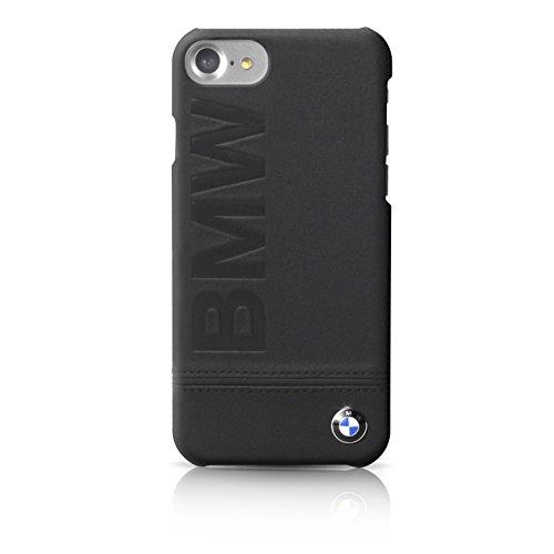 BMW BMHCP7LLLSB Signature Hart Echtleder Schutzhülle für Apple iPhone 7 Plus, Logo-Aufdruck schwarz/Einfarbig