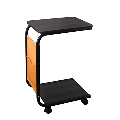 Industrial Side Table,Sofa End Tables for Coffee Tray Laptop Table,C Lap Table、Couch Table、Portable Caster Table for Living Room with Side Pocket-Black (Black)