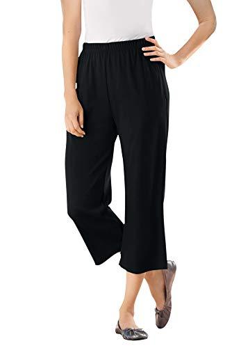 Woman Within Women's Plus Size Petite 7-Day Knit Capri Pants - 2X, Black